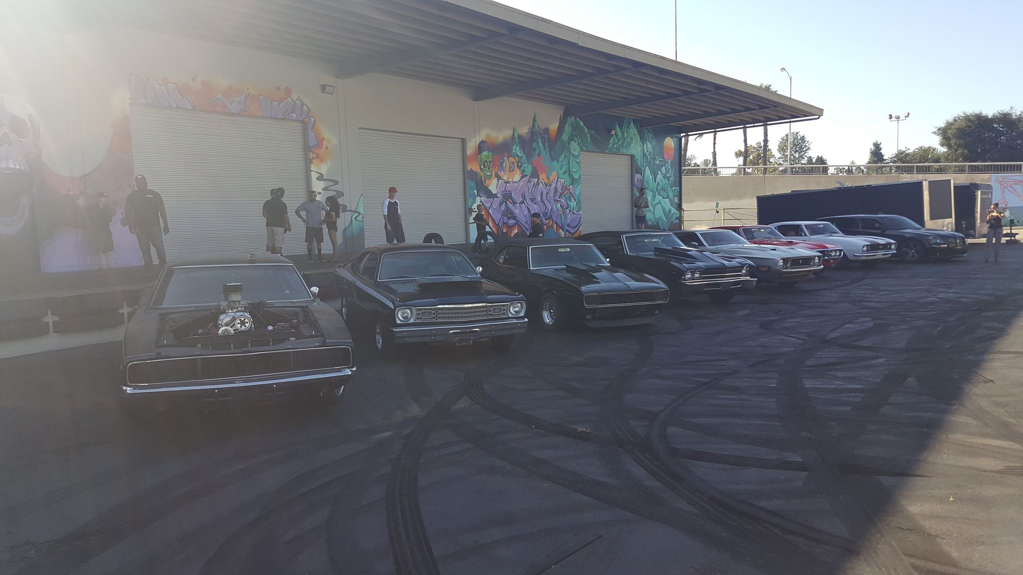 Some of the Torque Works crew and some LA friends at the Hoonigan place